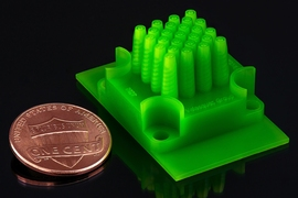 A new microencapsulation technique yields particles of very consistent size, while also affording a high rate of production. The device, pictured here, used to produce the spheres were themselves manufactured with an affordable commercial 3-D printer. The ability to 3-D print fabrication systems would not only keep manufacturing costs low but also allow researchers to quickly develop systems for p...