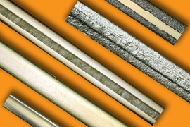 This image shows the fabrication steps from raw circular filament to a fully functional bending artificial muscle. The bottom filament is a raw circular filament. Researchers press the filament using a rolling mill (the second sample from the bottom). Next, they add a mask in the middle of the surface (the third sample from the bottom). Then, they add the conductive ink (the second sample from the...