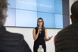 The DesignX finalists represent a range of ventures focused on solving problems in design and the built environment. Noelle Marcus, a graduate student in urban studies and planning, pitched as part of the Nesterly team, which is developing a digital platform to exchange tasks for affordable housing.