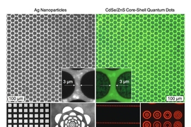 These optical and fluorescence images show micrometer scale patterns of flexographic printed silver nanoparticles and CdSe/ZnS core-shell type quantum dots.