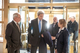 U.S. Secretary of State John Kerry, before his speech at MIT, talking with MIT President L. Rafael Reif (left) and Vice President for Research Maria Zuber (right).
