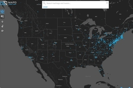 "MapD's live, geolocated ""Tweetmap"" lets users search for individual Twitter hashtags and see those hashtags appear, in real time, across a world map."