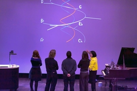 Elaine Chew describing her spiral array model to other composers.