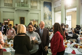 MIT President L. Rafael Reif spoke with attendees at the 43rd annual MIT MLK Celebration on Wednesday, Feb. 15.