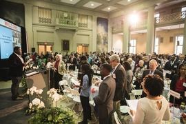 Attendees filled the Walker Memorial building's Morss Hall.