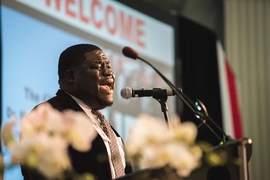 Jermaine Tulloch, a guest soloist with MIT's Gospel Choir, performed a musical selection.