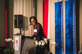 Aprille Joy Ericsson, an alumna of MIT's AeroAstro program and a mission manager at NASA's Goddard Space Flight Center, delivered the keynote speech.
