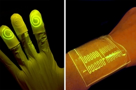 Researchers have found that the hydrogel's mostly watery environment helps keep nutrients and programmed bacteria alive and active. When the bacteria reacts to a certain chemical, the bacteria are programmed to light up, as seen on the left.