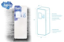 Bevi is a smart beverage-dispensing machine — made with high-quality components inspired by medical devices — that filters and adds carbonation and customizable flavors to tap water in offices, gyms, and hotels.