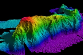 A map of a seamount in the Arctic Ocean created by gathering data with a multibeam echo sounder. A team of researchers found that topographic features such as seamounts, ridges, and continental margins can trap deep waters from migrating to flatter, calmer parts of the ocean.