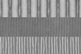 These scanning electron microscope images show the sequence of fabrication of fine lines by the team's new method. First, an array of lines is produced by a conventional electron beam process (top). The addition of a block copolymer material and a topcoat result in a quadrupling of the number of lines (center). Then the topcoat is etched away, leaving the new pattern of fine lines exposed (bottom)...