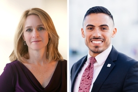 MIT alumni and faculty have a long history of public policy service. Kathleen Hicks PhD '10 (left) is director of the International Security Program at the Center for Strategic and International Studies; Samuel Rodarte Jr. '13 is a legislative aide for U.S. Rep. Michael Capuano.