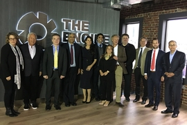 Members of The Engine's Board of Directors and Investment Advisory Committee at The Engine headquarters in Central Square (from left to right): Katie Rae, Robert Kraft, Israel Ruiz, Anantha Chandrakasan, Linda Pizzuti Henry, Amir Nashat, Sue Siegel, David Fialkow, Jeremy Wertheimer, Brad Powell, Felipe Chico, and Jonathan Kraft.