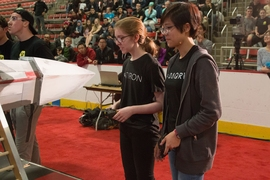 Students compete in the 2017 MIT Mechanical Engineering 2.007 Student Design Final Robot Competition.