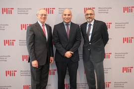 (Left to right) L. Rafael Reif, President of MIT; Fady Mohammed Jameel, president of Community Jameel International; and Sanjay Sarma, MIT vice president for open learning