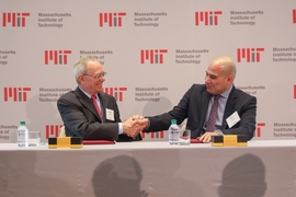 L. Rafael Reif, President of MIT (left) and Fady Mohammed Jameel, president of Community Jameel International