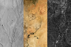 (Left to right): River networks on Mars, Earth, and Titan. Researchers report that Titan, like Mars but unlike Earth, has not undergone any active plate tectonics in its recent past.