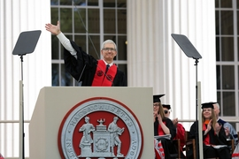 """Measure your impact on humanity not in likes but in the lives you touch,"" said Apple CEO Tim Cook in his Commencement address."