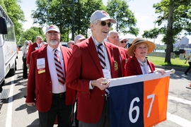 Members of MIT's class of 1967 wore the traditional red blazers that mark the 50th anniversary of an MIT graduation.