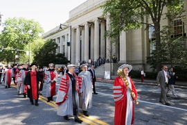 The Academic Procession was led by Chief Marshal and MIT Alumni Association President Nicolas Chammas SM '87, who carried the golden ceremonial mace.