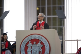 """Use your minds and hands — and your hearts — to build something bigger than yourselves,"" Apple CEO Tim Cook told the graduating class of 2017 in his Commencement address."