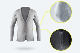 The new 3-D knitting printer can manufacture a seamless blazer (shown here) in about 90 minutes. According to the startup, the machine eliminates about 30 percent of the fabric waste of traditional cut-and-sew methods.