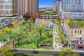 The central open space connects 5th Street to Kendall Square and provides opportunities for recreation, outdoor dining, gardens, and a pavilion for innovation and entertainment.
