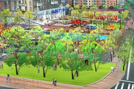 A large plaza at the corner of 3rd Street and Broadway provides green space, a water feature representing an extension of the Broad Canal, retail kiosks, and a multipurpose innovation facility.