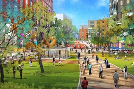 A lively and diverse open space creates a new connection from 5th Street to Galaxy Park.