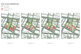 The team has identified four potential site plans that would work under the proposed zoning showing different locations for the open space and buildings.