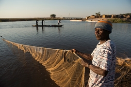 Fisherman in Mongu Harbor, Zambia