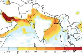 A new study shows that without significant reductions in carbon emissions, deadly heat waves could begin within as little as a few decades to strike regions of India, Pakistan, and Bangladesh. This map shows the maximum wet-bulb temperatures (which combine temperature and humidity) that have been reached in this region since 1979.