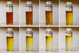 This series of photographs shows the chemical reaction that occurs during the charging of a lithium oxygen battery using lithium iodide as an additive.