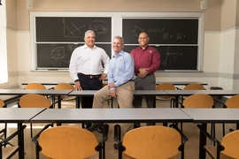 From left: Nelson Olivier, veteran, former MIT postdoc, and student in the MIT Sloan School of Management's executive MBA program; Sidney T. Ellington, executive director of the Warrior Scholar Project; and Bill Kindred, veteran, EMBA student, and human resources manager at MIT's Lincoln Laboratory.