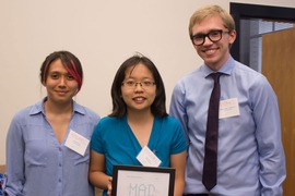 "The winning team, named A Salt Solution, won $10,000 for a prototype of a simple, low-cost hydrogel that can be incorporated into water desalination plants or placed directly into bodies of water to collect uranium. The team members are: (left to right) Jasmine Harris, Cynthia Lo, and William ""Robin"" Lindemann."