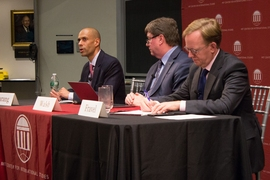 (Left to right): Vipin Narang, associate professor of political science and a member of the Security Studies Program; Taylor Fravel, associate professor of political science, a member of the Security Studies Program, and acting director of the MIT Center for International Studies; and Jim Walsh, senior research associate at the Security Studies Program.