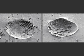 Micrographs of a metal surface after impact by metal particles. Craters are formed due to melting of the surface from the impact.