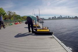 Class 2.680 (Unmanned Marine Vehicle Autonomy, Sensing and Communications), which is offered during spring semester, is structured around the presence of ice on the Charles. While the river is covered by a thick sheet of ice in February and into March, students are taught to code and program a remotely-piloted marine vehicle for a given mission.