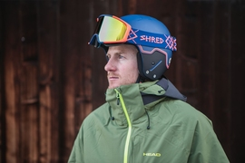 Ted Ligety wearing the helmet and goggle collection that Shred will be debuting at the Olympics. MIT students and faculty helped enhance the lens technology used in the lenses of these goggles.