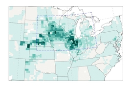 Maps depict the close correlation of crop production, rainfall and temperature in the U.S. Midwest in the last half of the 20th century. In this map, the number of bushels of corn produced are shown in shades of green.