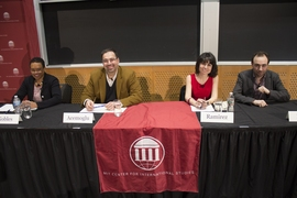 "Speakers at the Feb. 26 Starr Forum, ""Is Democracy Dying?""  Left to right: Melissa Nobles, Daron Acemoglu, Maria Ramirez, and Yascha Mounk."