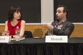 "Journalist Maria Ramirez of Univision (left), and Harvard University lecturer Yascha Mounk, author of ""The People Versus Democracy,"" at the Feb. 26 Starr Forum."