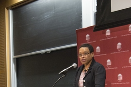 Melissa Nobles, the Kenan Sahin Dean of MIT's School of Humanities, Arts, and Social Sciences, and a professor of political science, at the Starr Forum.