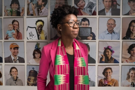 Joy Buolamwini,  a researcher in the MIT Media Lab's Civic Media group