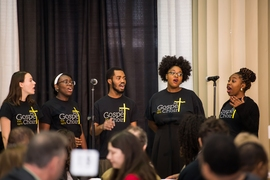 The MIT Gospel Choir presented some musical selections at the MLK luncheon.