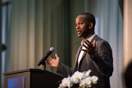 "Former NFL player Wade Davis, who is now an equality advocate and educator, presented the keynote address, in which he urged the audience that as they fight for equality and justice, ""the work must become personal."""