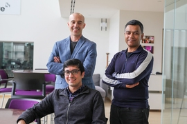 Pictured (left to right): Seated, Soroush Vosoughi, a postdoc at the Media Lab's Laboratory for Social Machines; Sinan Aral, the David Austin Professor of Management at MIT Sloan; and Deb Roy, an associate professor of media arts and sciences at the MIT Media Lab, who also served as Twitter's Chief Media Scientist from 2013 to 2017.