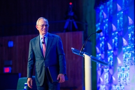 "MIT President L. Rafael Reif told a packed Kresge Auditorium: ""In the history of science and technology, there are moments of opportunity. Moments when the tools, the data, and the big questions are perfectly in synch. In the field of intelligence, I believe this is just such a moment."""