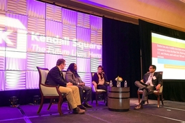 "The keynote panel at the 10th annual meeting of the Kendall Square Association (KSA) comprised three members of The Boston Globe's current Spotlight team (from left): reporter Andrew Ryan, columnist Adrian Walker, and editor Patricia Wen. Panel moderator was Malick W. Ghachem (far right), a professor of history at MIT. The team's latest seven-part project — titled, ""Boston. Racism. Image. ..."