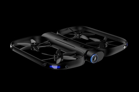 Called R1, Skydio's drone is equipped with 13 cameras that capture omnidirectional video. It launches and lands through an app — or by itself. On the app, the R1 can also be preset to certain filming and flying conditions or be controlled manually.